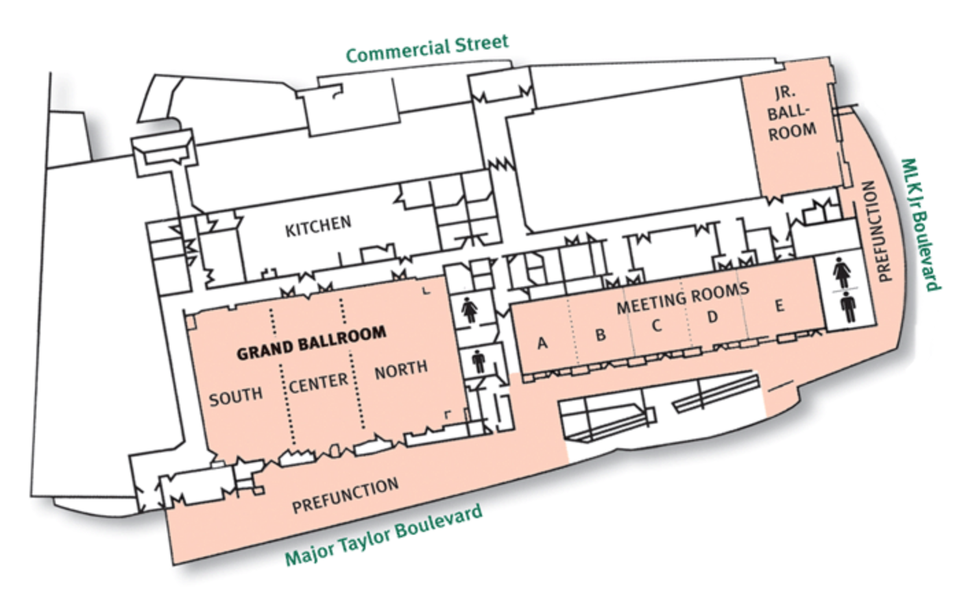 Level Three Ball Rooms and Meeting Rooms Convention Center Map