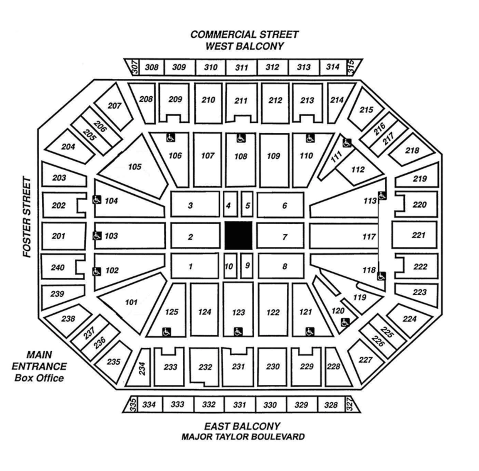 Center Stage and Wrestling Seating Arena Map