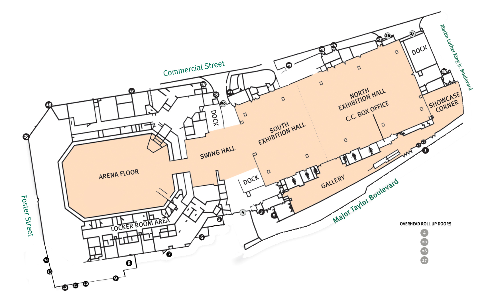 Map of the DCU Center Arena