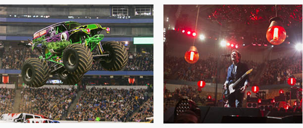 From left to right: Monster Jam Grave Digger flying through the air and bruce springstein singing in a mic.